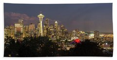 Seattle Washington City Skyline At Dusk Panorama Beach Towel