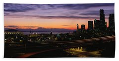 Seattle, Washington Skyline At Sunset Beach Sheet by Panoramic Images
