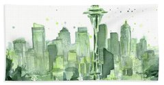Seattle Watercolor Beach Towel