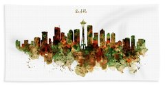 Beach Towel featuring the mixed media Seattle Watercolor Skyline Poster by Marian Voicu