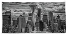 Seattle's Urban Landscape - Black And White Beach Towel
