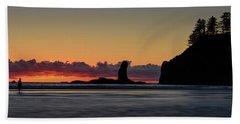 Beach Towel featuring the photograph Second Beach Silhouettes by Dan Mihai