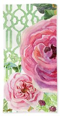 Beach Sheet featuring the painting Secret Garden 3 - Pink English Roses With Woodsy Fern, Wild Berries, Hops And Trellis by Audrey Jeanne Roberts