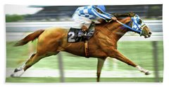 Secretariat On The Back Stretch At The Belmont Stakes Beach Towel by Thomas Pollart