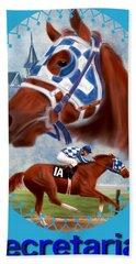 Secretariat Racehorse Portrait Beach Towel