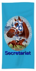 Secretariat Racehorse Portrait Beach Towel
