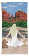 Beach Sheet featuring the painting Sedona Breeze  by Lance Headlee