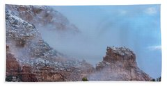 Beach Towel featuring the photograph Sedona Winter by Sandra Bronstein
