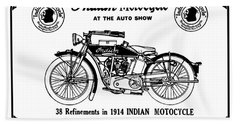 Beach Towel featuring the mixed media See New 1914 Indian Motocycle At The Auto Show by Daniel Hagerman