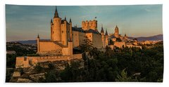 Segovia Alcazar And Cathedral Golden Hour Beach Towel