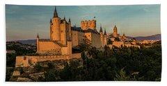 Segovia Alcazar And Cathedral Golden Hour Beach Sheet