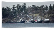 Seiners In Nw Bay Beach Sheet by Randy Hall