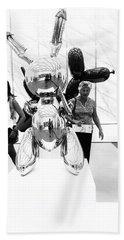 Self Portrait In Jeff Koons Mylar Rabbit Balloon Sculpture Beach Towel