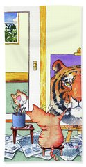 Self Portrait, Tiger Beach Towel