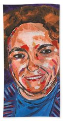 Self-portrait With Blue Jacket Beach Towel by Valerie Ornstein