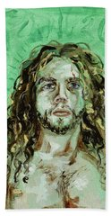Beach Towel featuring the painting Self Portrait -with Emerald Green And Mummy Brown- by Ryan Demaree