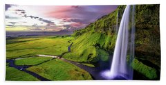 Seljalandsfoss Waterfall Beach Towel