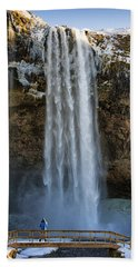 Seljalandsfoss Waterfall Iceland Europe Beach Sheet by Matthias Hauser