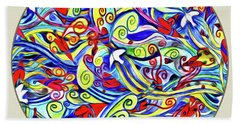 Semi Abstract Paintings Button Beach Towel