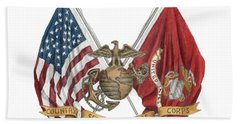 Beach Towel featuring the painting Semper Fidelis Crossed Flags by Betsy Hackett