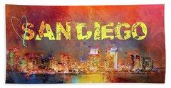Sending Love To San Diego Beach Towel