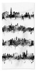 Seoul, Beijing, New York And London Custom Skyline Collection Beach Towel