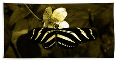 Sepia Butterfly And Flower Beach Towel