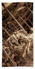 Sepia Carousel Horse Beach Sheet