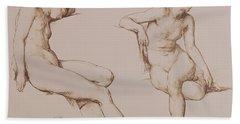 Sepia Drawing Of Nude Woman Beach Towel