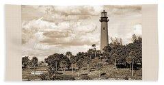 Sepia Lighthouse Beach Sheet