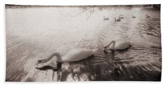 Beach Towel featuring the photograph Sepia Swans by Doug Gibbons