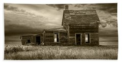 Sepia Tone Of Abandoned Prairie Farm House Beach Towel