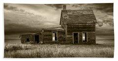Sepia Tone Of Abandoned Prairie Farm House Beach Sheet