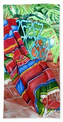 Serape On Wrought Iron Chair I Beach Towel