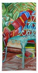 Serape On Wrought Iron Chair II Beach Towel
