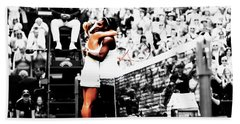 Serena Williams And Angelique Kerber 1a Beach Sheet by Brian Reaves