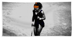 Serena Williams Match Point 3a Beach Towel by Brian Reaves