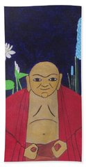 Beach Towel featuring the painting Serene Buddha by Hilda and Jose Garrancho