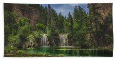 Serene Hanging Lake Waterfalls Beach Towel