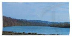 Serene River Landscape Beach Towel