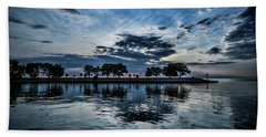 Serene Summer Water And Clouds Beach Sheet