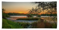 Beach Towel featuring the photograph Serene Sunset by Beth Sawickie