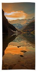 Beach Towel featuring the photograph Serene Waters At Lake Louise by Tara Turner