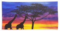 Beach Sheet featuring the painting Serengeti Sunset by Darren Robinson