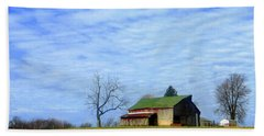Serenity Barn And Blue Skies Beach Sheet by Tina M Wenger