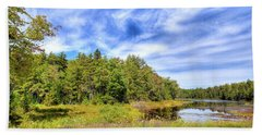Beach Towel featuring the photograph Serenity On Bald Mountain Pond by David Patterson