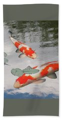 Serenity - Red And White Koi Beach Sheet by Gill Billington