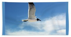 Beach Towel featuring the photograph Serenity Seagull by Marie Hicks