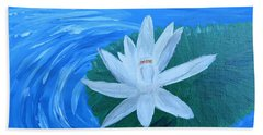 Serenity White Water Lily Beach Towel