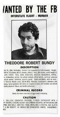 Serial Killer Ted Bundy Beach Towel by Daniel Hagerman